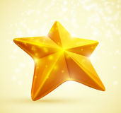 Gold star. 3D symbol of the golden stars. Eps 10 Royalty Free Stock Photos