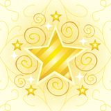 Gold Star. An illustration of a star, with yellow/gold stripes, surrounded by smaller stars and golden curls Stock Image
