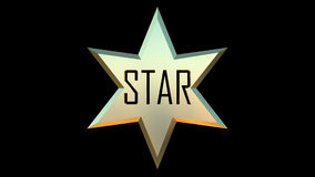 Gold star 3D. Gold star made in 3D black background Royalty Free Stock Photo