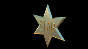 Gold star 3D left side. Gold star made in 3D black background left side Royalty Free Stock Photography