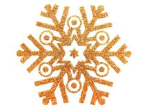 Gold star. Gold brocade snow star isolated on white vector illustration