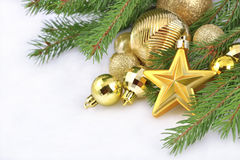 Free Gold Star And Christmas Decorations Royalty Free Stock Photo - 34289695