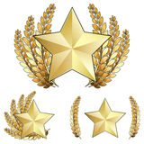 Gold Star Award with Laurel Wreath. Vector Illustration of a gold star award, rank, or medal with laurel wreaths around it. There are several versions of elegant Royalty Free Stock Photography
