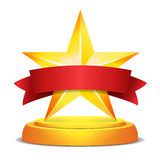 Gold Star Award. Red Ribbon With Place For Text. Vector Illustration. Modern Trophy, Challenge Prize. Beautiful Shiny. Label Design. Isolated Vector Stock Photography