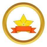 Gold star award with ribbon vector icon Royalty Free Stock Photography