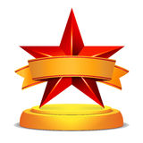 Gold Star Award. Shiny Vector Illustration. Modern Trophy, Challenge Prize. Beautiful Label Design. Isolated Stock Photography