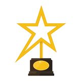 Gold star award statuette Stock Images