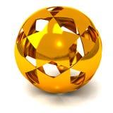Gold star ball 3d. Sphere made of golden stars, 3d image vector illustration