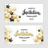 Gold Star balloon invitation vector illustration