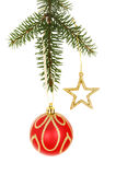 Gold star and bauble on a pine branch Royalty Free Stock Photo