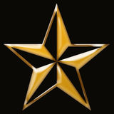 Gold star on black stock image