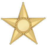 Gold star with blank plate isolated Royalty Free Stock Images