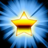 Gold star blue rays. Gold star and blue background illustration Stock Image