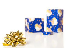 Gold star and boxes Stock Photography