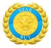 Gold Star Buy Winner Laurel Wreath Medal Stock Image