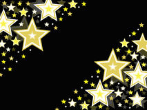Gold star celebration background on black Royalty Free Stock Photography