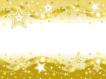 Gold star celebration party background with blank space Stock Image