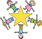 Gold Star Children stock illustration
