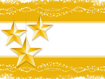 Gold star Christmas background. Gold Christmas stars on a white background with decorative border Stock Images