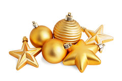 Gold star and christmas ball Stock Photo