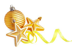 Gold star and christmas ball  with paper streamer Royalty Free Stock Photos