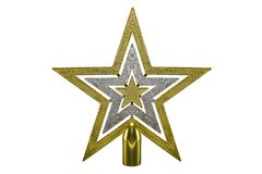 Gold star Christmas decoration on isolated Stock Image