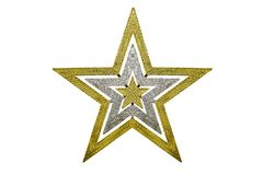 Gold star Christmas decoration on isolated Royalty Free Stock Photography