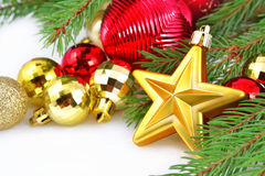 Gold star and Christmas decorations Royalty Free Stock Photo