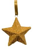 Gold Star Christmas Ornament. Gold flake star Christmas tree ornament on white background complete with detailed clipping path royalty free stock photos