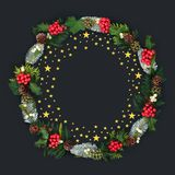 Gold Star With Winter Flora Christmas Wreath