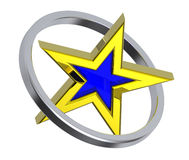 Gold star in a chrome circle. 3D computer generated photo rendering Royalty Free Stock Photos