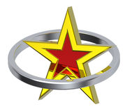 Gold star in a chrome circle stock illustration