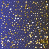Gold star confetti rain festive holiday background.. Gold star confetti rain festive holiday background. Vector golden paper foil stars falling down isolated Royalty Free Stock Photo