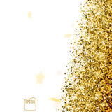 Gold star confetti rain festive holiday background. Golden stars Confetti. Vector Festive Illustration of Falling Shiny Confetti Glitters Isolated on White Stock Images