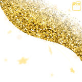 Gold star confetti rain festive holiday background. Golden stars. Confetti. Vector Festive Illustration of Falling Shiny Confetti Glitters Isolated on White Stock Image