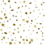 Gold star confetti rain festive holiday background. Vector golde. N paper foil stars falling down isolated on transparent background Stock Images