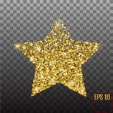 Gold star confetti rain festive holiday background. Vector golde. N paper foil stars falling down isolated on transparent background Stock Photo
