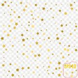 Gold star confetti rain festive holiday background. Vector golden paper foil stars falling down isolated on transparent. Background vector illustration