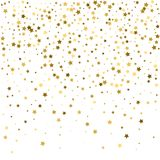 Gold star confetti rain festive holiday background. Vector golde. N paper foil stars falling down isolated on transparent background Royalty Free Stock Photo