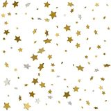Gold star confetti rain festive holiday background. Vector golde. N paper foil stars falling down isolated on transparent background Royalty Free Stock Photography