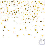 Gold star confetti rain festive holiday background. Vector golde. N paper foil stars falling down isolated on transparent background Royalty Free Stock Image