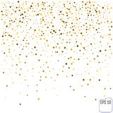 Gold star confetti rain festive holiday background. Vector golde. N paper foil stars falling down isolated on transparent background Stock Image