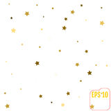 Gold star confetti rain festive holiday background. Vector golde. N paper foil stars falling down  on transparent background Stock Photo