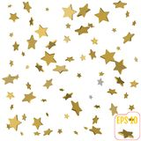 Gold star confetti rain festive holiday background. Vector gold. En paper foil stars falling down isolated on transparent background Royalty Free Stock Photography