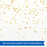 Gold star confetti rain festive holiday background. Vector golden paper foil stars falling down isolated on transparent background Royalty Free Stock Images
