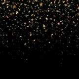 Gold star confetti rain festive pattern effect. Golden volume stars falling down isolated on black background. EPS 10 vector illustration