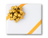Gold star and Cross line ribbon on White paper box Royalty Free Stock Photo