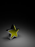 Gold star on dark background. 3d gold star, black background Stock Photography