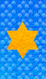 Gold Star of David blue background. Vertical format for Smart phone. Gold Star of David blue background. Yellow star on blue background. Vertical format for Stock Photo