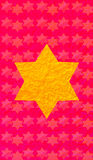 Gold Star of David red background. Vertical format for Smart phone. Gold Star of David red background. Yellow star on red background. Vertical format for Smart stock illustration
